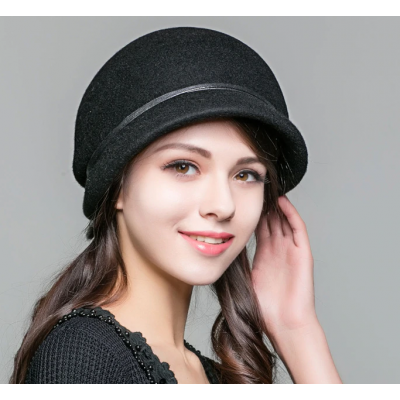Wool Bowler Hat Autumn Winter Elegant Church FS